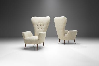 Paolo Buffa Pair of Italian Modern High Back Chairs by Paolo Buffa attr Italy 1950s