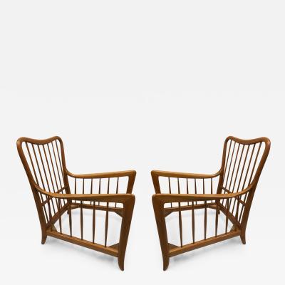Paolo Buffa Pair of Italian Modern Neoclassical Cherrywood Armchairs by Paolo Buffa
