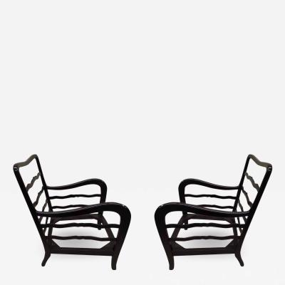 Paolo Buffa Pair of Italian Modern Neoclassical Walnut Lounge Chairs by Paolo Buffa 1940