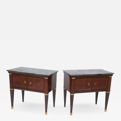 Paolo Buffa Pair of Italian Modern Rosewood and Walnut Inlaid Nightstands Paolo Buffa