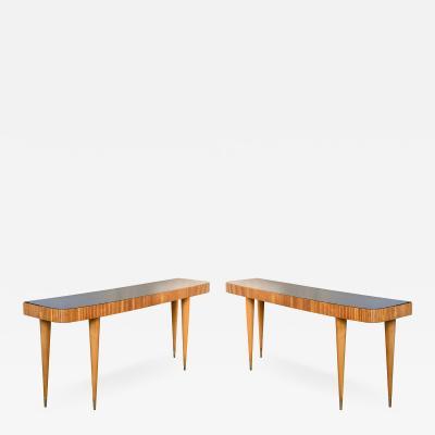 Paolo Buffa Pair of Large Wood Italian Mid Century Modern Consoles Paolo Buffa Style