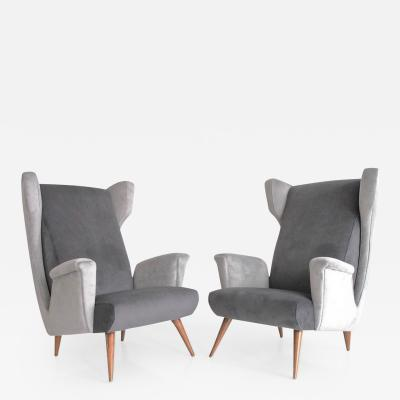 Paolo Buffa Pair of Mid Century Modern Grey Velvet Armchairs
