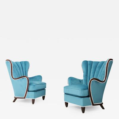 Paolo Buffa Pair of Midcentury Armchairs Blue Velvet Attributed to Paolo Buffa 1950s
