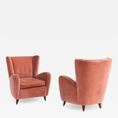 Paolo Buffa Pair of Midcentury Italian Velvet Armchairs Attributed to Paolo Buffa