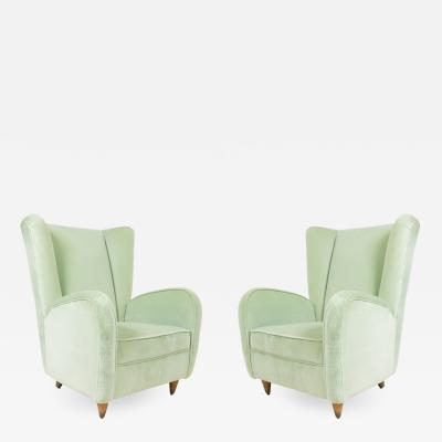 Paolo Buffa Pair of Pair of Paolo Buffa Modernist Wingback Mint Green Velvet Armchairs
