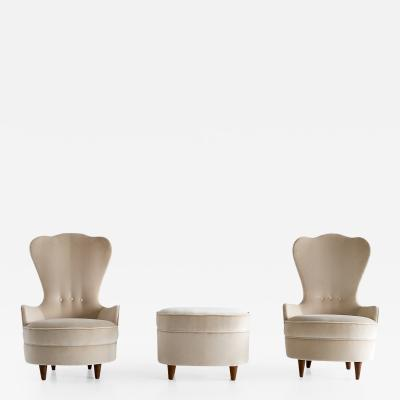 Paolo Buffa Pair of Paolo Buffa Chairs with Matching Footrest Cant Italy Mid 1940s