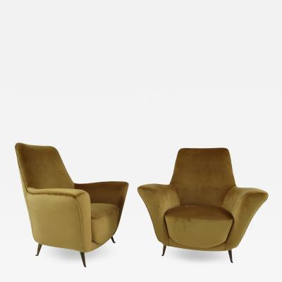 Paolo Buffa Pair of Rare Gold Ico Luisa Parisi Armchairs by Isa 1952