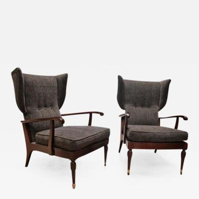 Paolo Buffa Pair of Reclining Wingback Armchairs by Paolo Buffa 1950