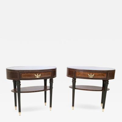 Paolo Buffa Pair of Wood and Ebonized Wood Nightstands in the style of Buffa Italy 1950s