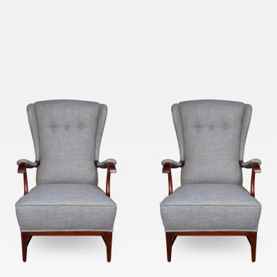 Paolo Buffa Pair of midcentury wingback armchairs by Paolo Buffa