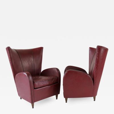Paolo Buffa Pair of rare red sky Paolo Buffa armchairs 1950