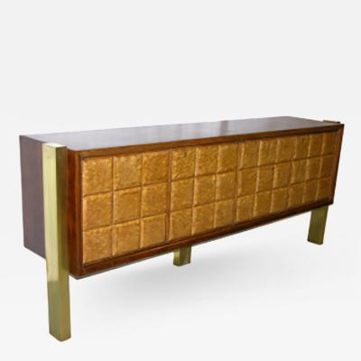 Paolo Buffa Paolo Buffa Customized Veneered Cabinet or Sideboard on Bronze Legs