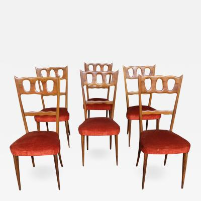 Paolo Buffa Paolo Buffa Set of Six Elegant Walnut and Red Velvet Chairs 1950s