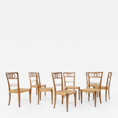 Paolo Buffa Paolo Buffa Set of eight chairs in walnut wood and straw 1950s