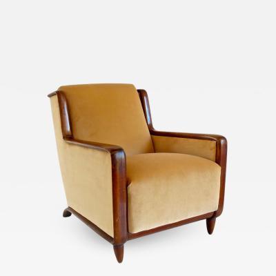 Paolo Buffa Paolo Buffa Walnut and Velvet Armchair 1940