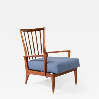 Paolo Buffa Paolo Buffa cherry wood reading armchair with brass tips