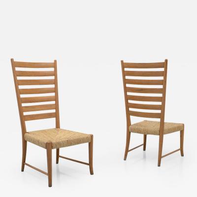 Paolo Buffa Paolo Buffa pair of 1930s low chairs in Oak designed