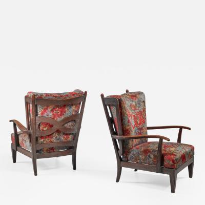 Paolo Buffa Paolo Buffa pair of oak lounge chairs Italy 1940s