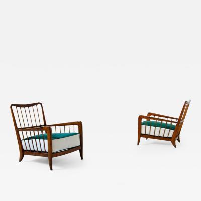 Paolo Buffa Paolo Buffa rare 1940s pair of armchairs in cherry wood