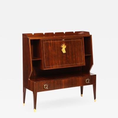 Paolo Buffa Rare Drop Front Bar Cabinet by Paolo Buffa