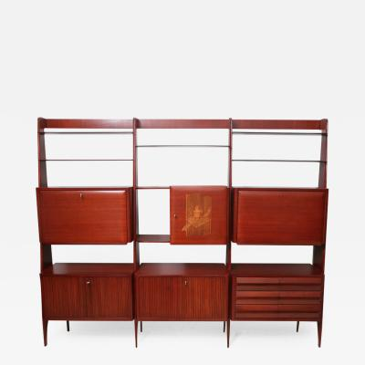 Paolo Buffa Rare Italian Modern Mahogany Tall Bookcase