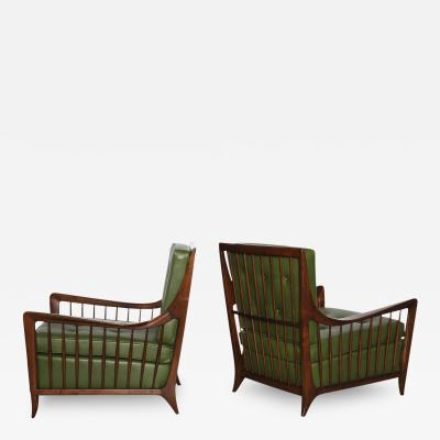 Paolo Buffa Rare Pair of Open Arm Lounge Chairs by Paolo Buffa