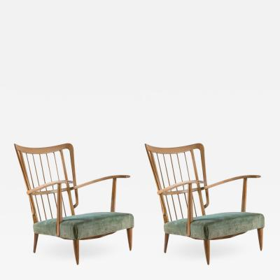 Paolo Buffa Remarkable Pair of Two Italian 1940s Lounge Chairs