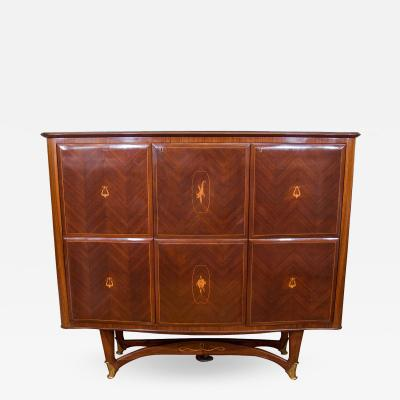 Paolo Buffa Rosewood Parquetry Bar Cabinet Attr Paolo Buffa
