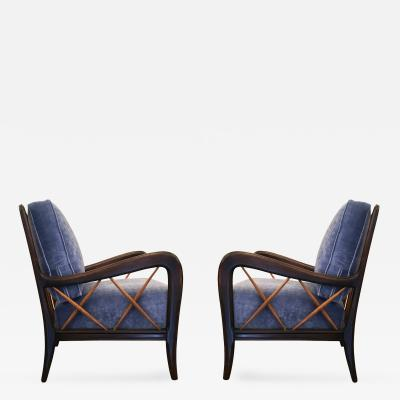 Paolo Buffa Sculptural Pair of Armchairs Attributed to Paolo Buffa Italy 1950s