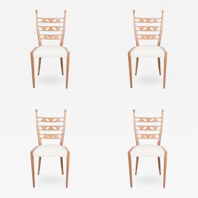 Paolo Buffa Set of Four Blonde Carved Wood Chairs Attributed to Paolo Buffa