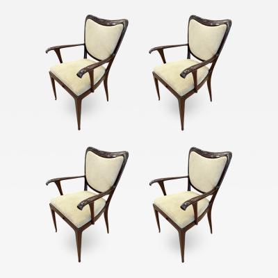 Paolo Buffa Set of Four Paolo Buffa Armchairs Italy 1940s