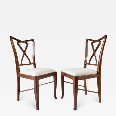 Paolo Buffa Set of Rare Important Walnut 12 Dining Chairs Attributed Paolo Buffa circa 1950