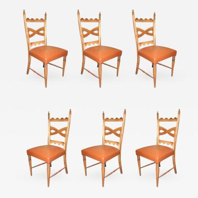 Paolo Buffa Set of Six Dining Chairs Designed by Paolo Buffa made in Italy