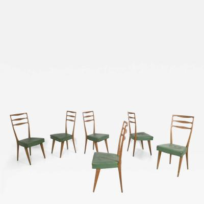 Paolo Buffa Set of Six Walnut and Skai Chairs in the Style of Buffa Prod Cant Italy