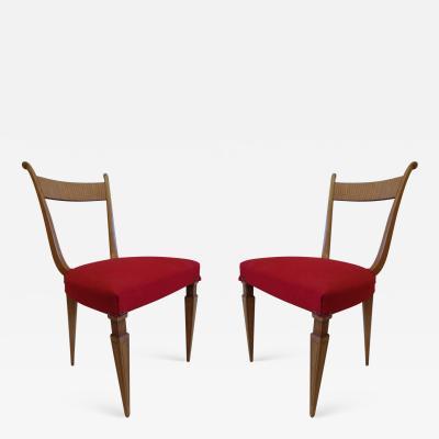 Paolo Buffa Two Italian Mid Century Modern Neoclassical Desk Chairs by Paolo Buffa