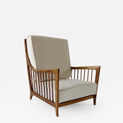Paolo Buffa rare Paolo Buffa white cherrywood armchair 118 F 1950