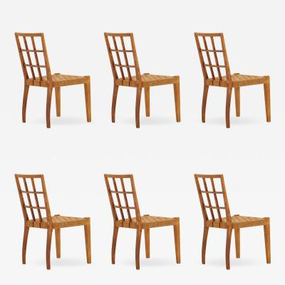 Paolo Buffa set of 6 wooden chairs and rattan by Paolo Buffa 50 years