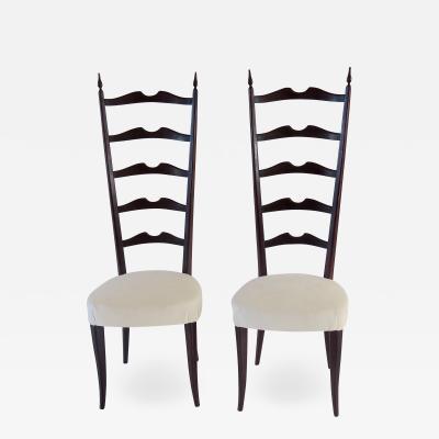 Paolo Buffa set of 8 ebonized velvet high back Chiavari dining chairs by Paolo Buffa 1950