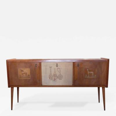 Paolo Buffa style Italian decorated sideboard created in wood brass 1950s