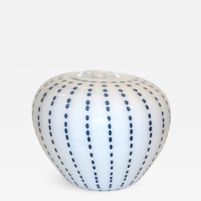Paolo Crepax Paolo Crepax Italian White Murano Glass Modern Vase with Aqua Blue Dot Murrine