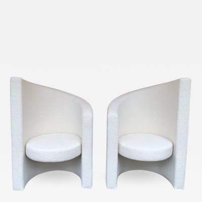 Paolo Pallucco Pair of Leaf Armchairs Boucl Fabric Italy 1980s