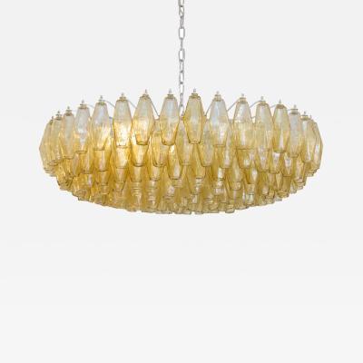 Paolo Venini 1950s amber colour Poliedri chandelier