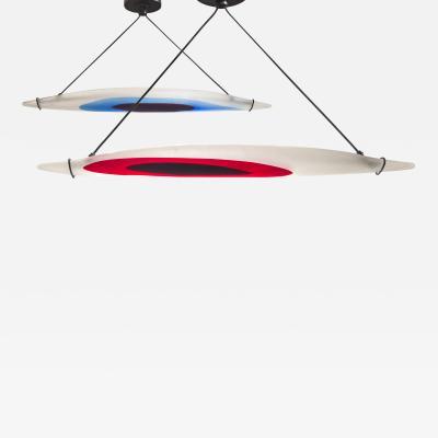 Paolo Venini A Pair of Rare Barchetta Murano Glass Chandeliers