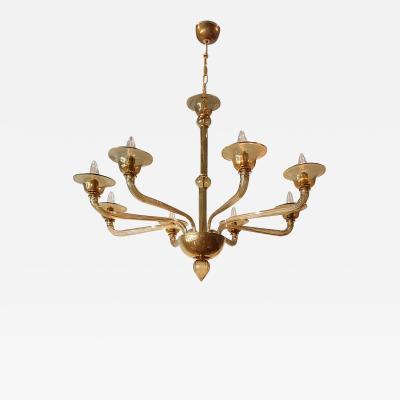 Paolo Venini Giacomo Cappellin Mid Century Modern Venini style Beige Murano Glass Chandelier