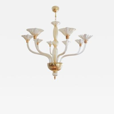 Paolo Venini Large Clear Gold Murano Glass Venini Chandelier 1970s