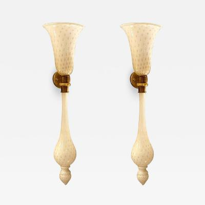 Paolo Venini Large Mid Century Modern White Gold Murano Glass Sconces Venini Style a Pair