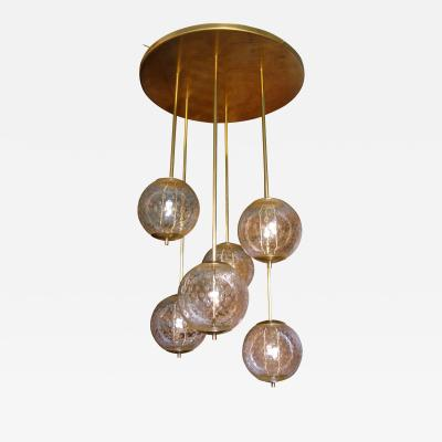 Paolo Venini Mid Century Modern 6 Clear Glass Globes Flush Mount Light attr to Venini
