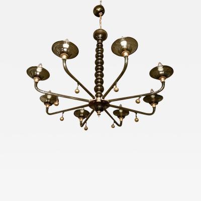 Paolo Venini Murano Gray Gold Mid Century Modern Chandelier Venini Style