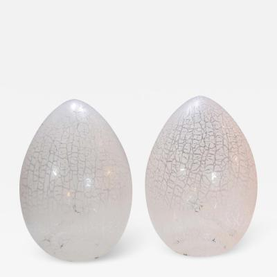 Paolo Venini Pair of Large Murano Glass Egg Lamps in Rare Lacy Pattern Attributed to Venini