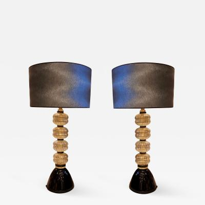 Paolo Venini Pair of Mid Century Modern Murano Glass Lamps in the style of Venini
